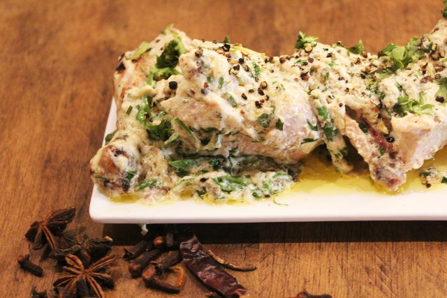 The infamous Murg Makhmali tikka, a must have, cooked in malai mix and topped with chopped coriander and kalaunji for the perfect flavor.