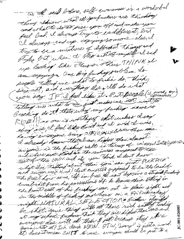 Wayne Harris diary about Eric Harris