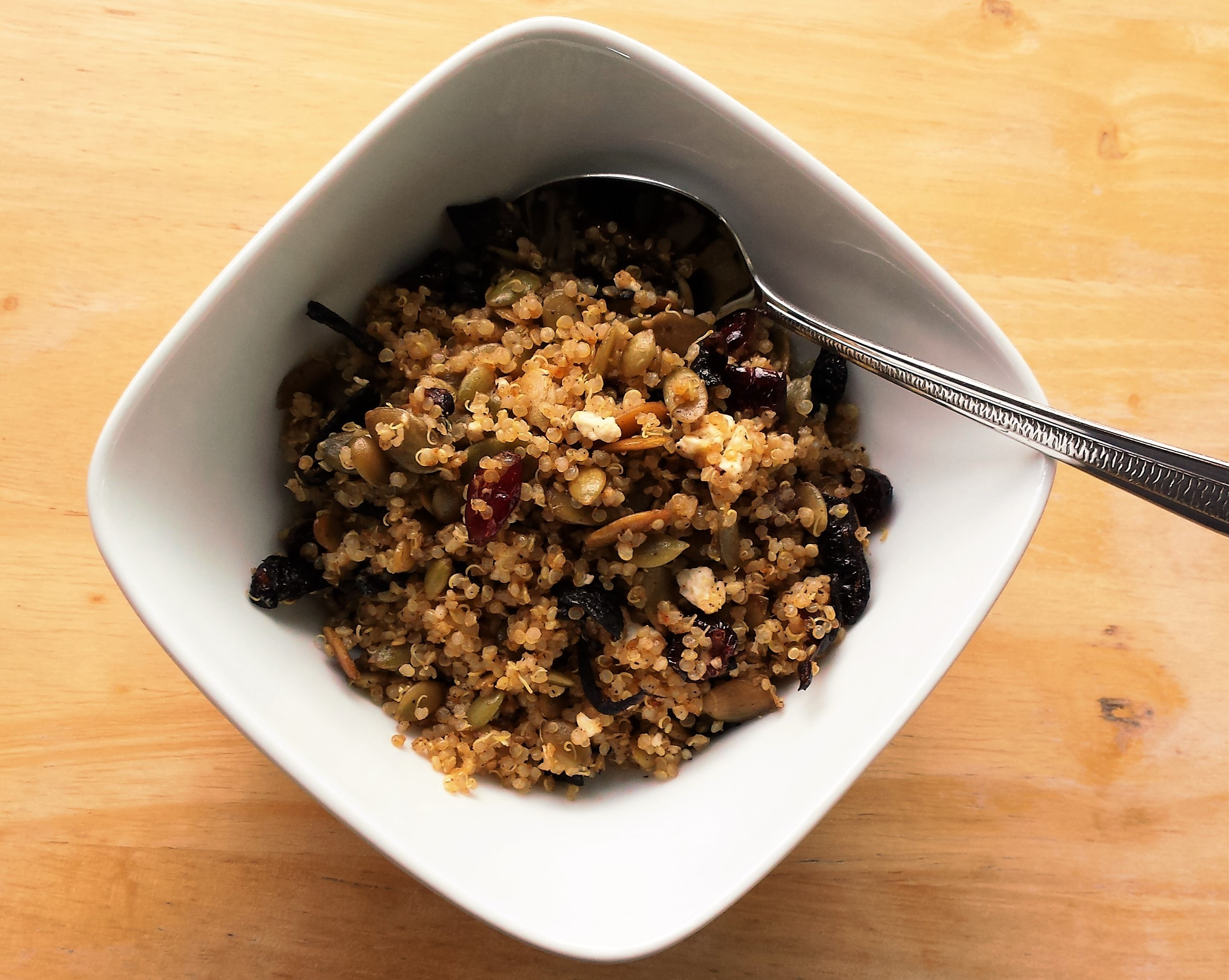 Quinoa with Cranberries, Caramelized Onion, and Toasted Pepitas