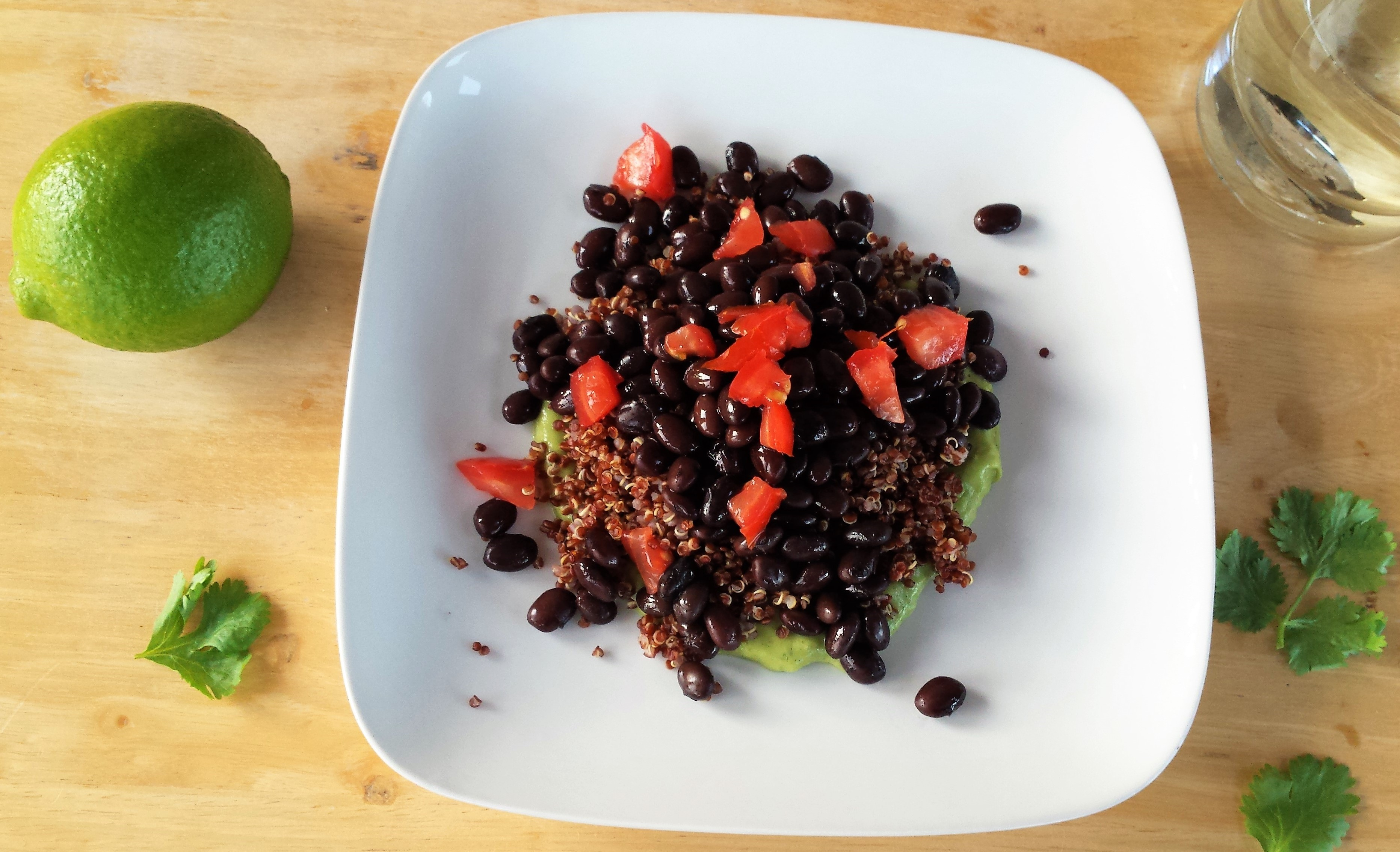 Quinoa and Black Beans with Avocado Cream Sauce