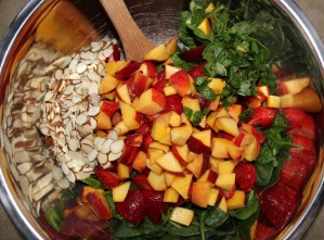 Strawberry-Peach Balsamic Spinach Salad with Pulled Roasted Chicken 2