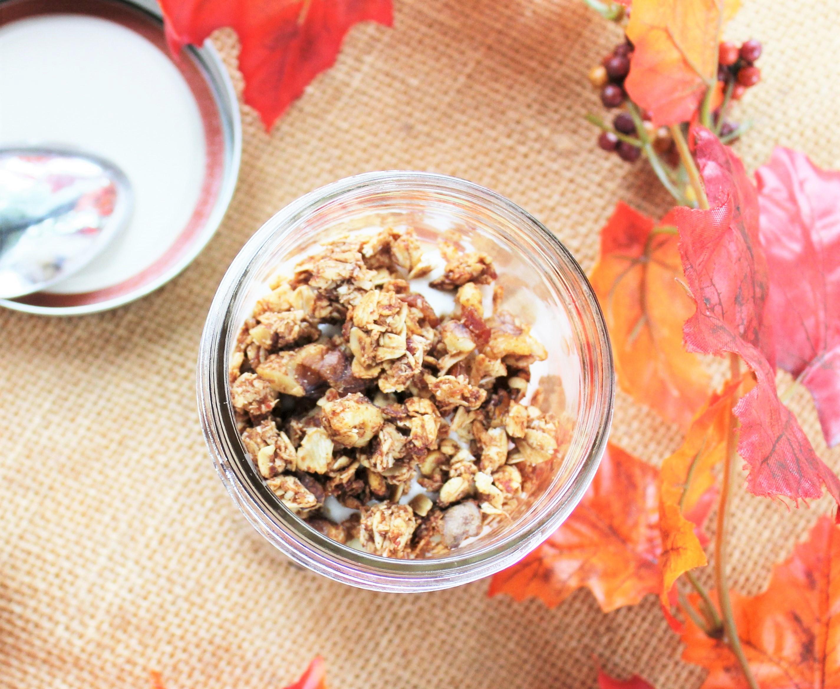 Yogurt Breakfast Parfait with Diced Apple and Homemade Cinnamon, Honey, and Walnut Granola 3