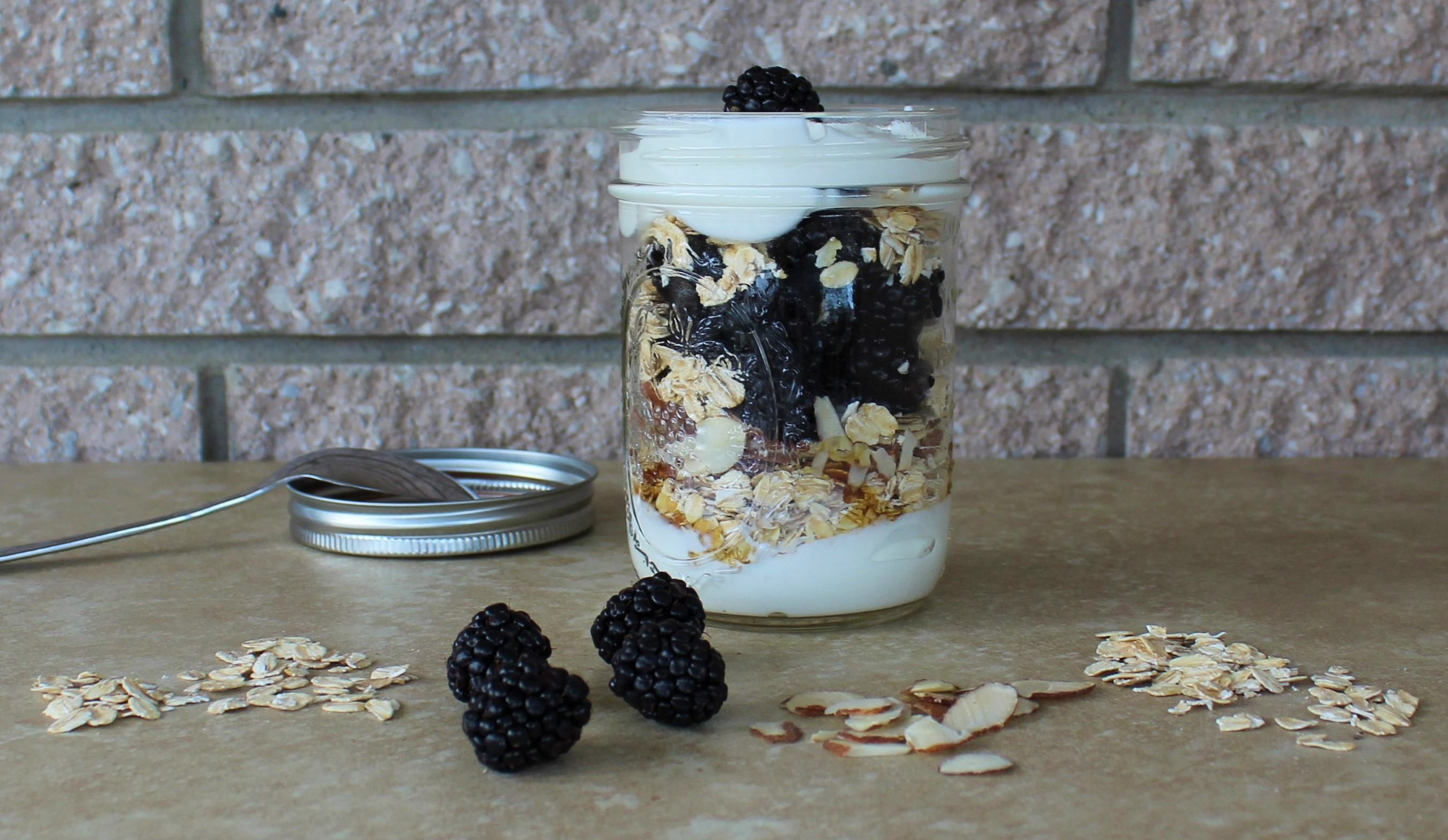 Greek Yogurt Breakfast Parfait with Blackberries, Honey and Almonds 1