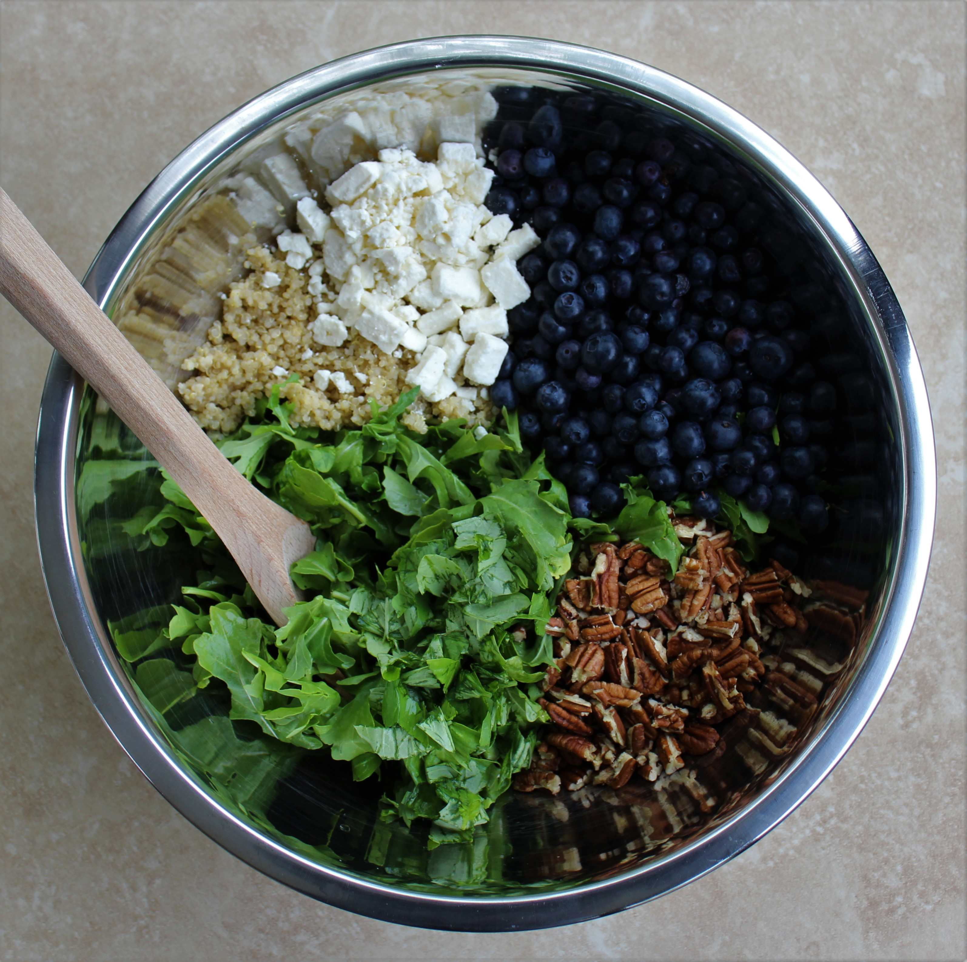 Arugula and Quinoa Salad with Feta, Blueberries, and Pecans 2