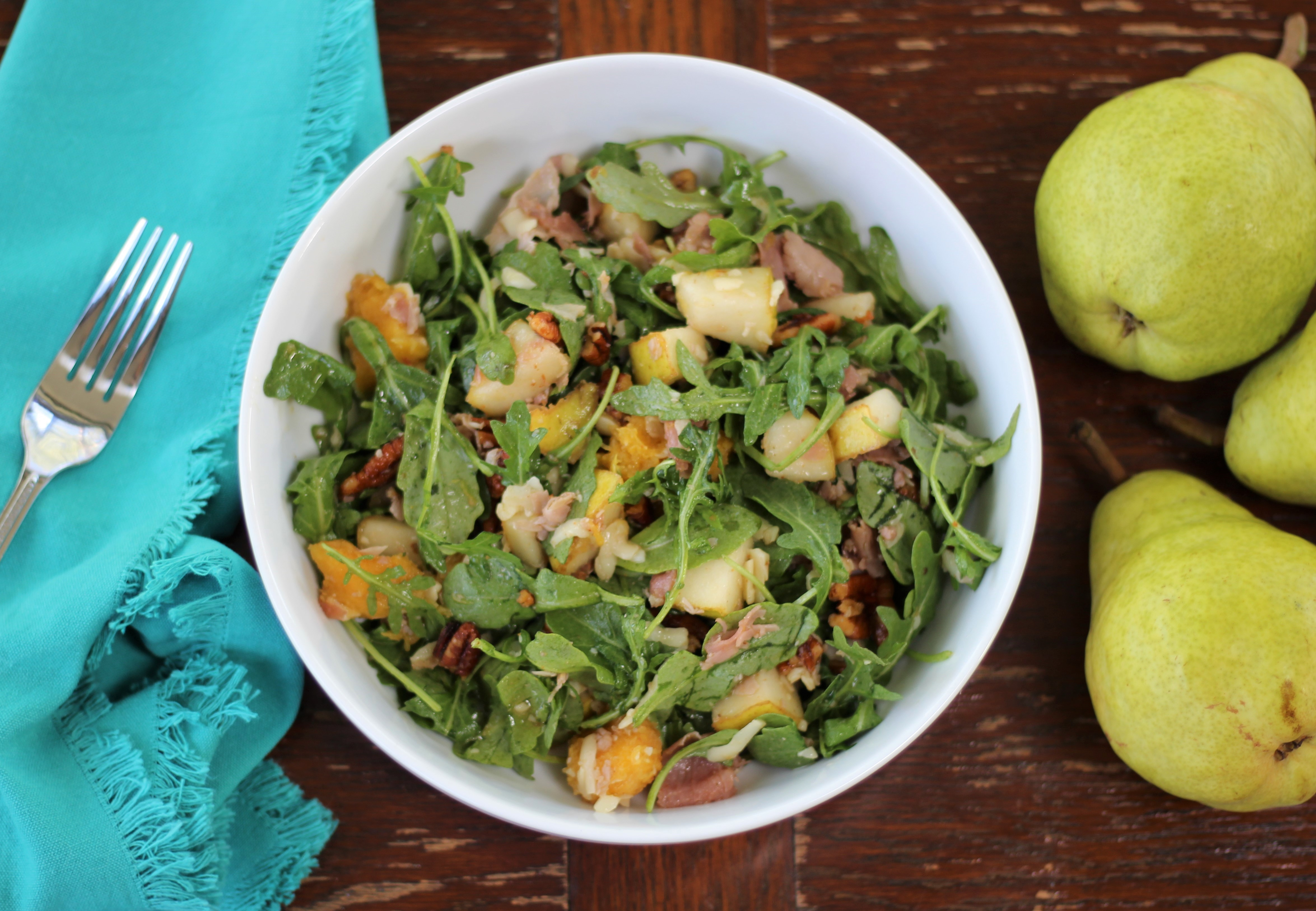 Prosciutto, Pear, and Fontina Arugula Salad with Spicy Toasted Pecans 1
