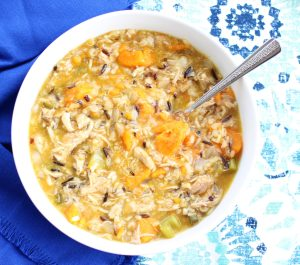 A bowl of Chicken, Sweet Potato, and Wild Rice Soup