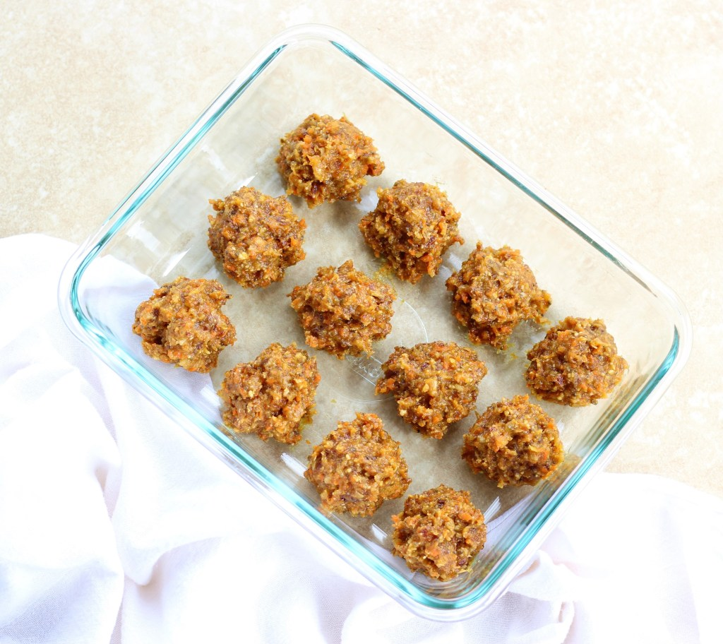 Carrot Cake Energy Balls in a glass container