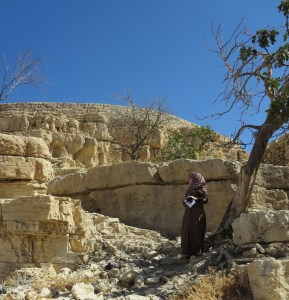 Environmental Engineer from Wadi Musa at al-Tahouna mill site, Wadi Musa (photo by E. Addison)