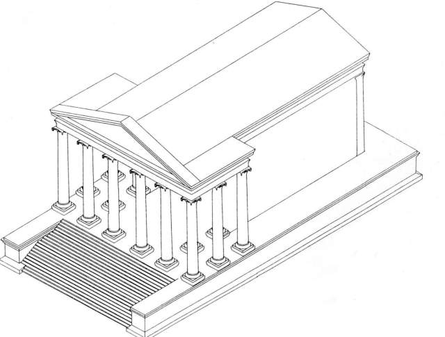 A reconstruction of what the Roman temple on the Amman Citadel may have originally looked like. Drawing by Chrysanthos Kannelopoulos.
