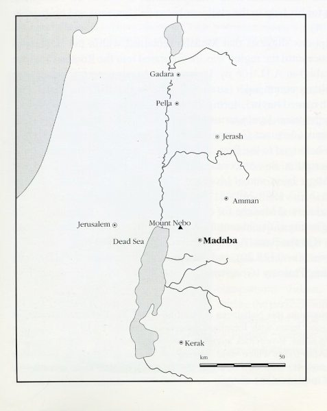 Map showing the location of Madaba (from Madaba Cultural Heritage, 1996).