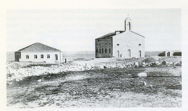 Madaba's Church of St. George, home of the Madaba Map, as photographed in 1902 (from Madaba Cultural Heritage, 1996).