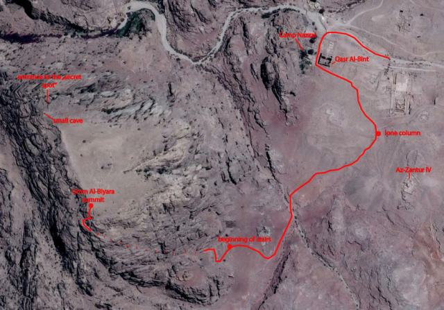 "A Google Earth image showing the path from Petra's Colonnaded Street to the well-hidden staircase that leads to the summit of Umm Al-Biyara. Also highlighted is the location of a ""secret"" spot on Umm Al-Biyara featuring intriguing Nabataean carvings."