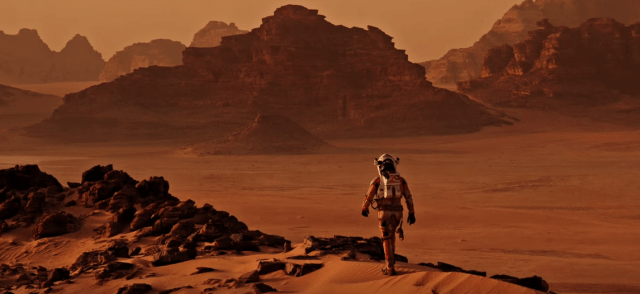 "Screenshot from the 2015 film ""The Martian"" featuring vistas from Wadi Rum in Jordan (20th Century Fox)"