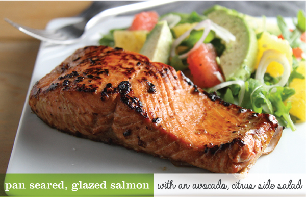 Pan Seared, Glazed Salmon with An Avocado, Citrus Salad