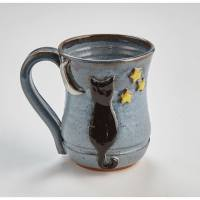 Handmade Cat Ceramic Coffee Mug - Moon and Stars - 14 ...