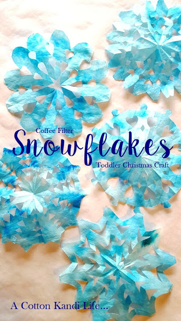 Coffee Filter Snowflakes {Toddler Christmas Craft}