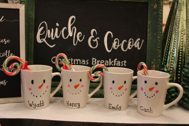 How to make Snowman Mugs with Sharpie Pens. Holiday Toddler Project