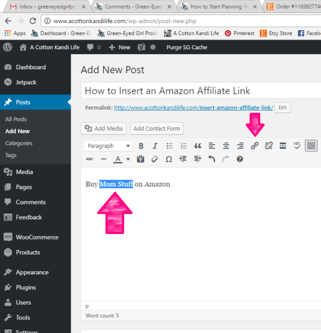 How to add an Amazon Affiliate Link to your Blog Post