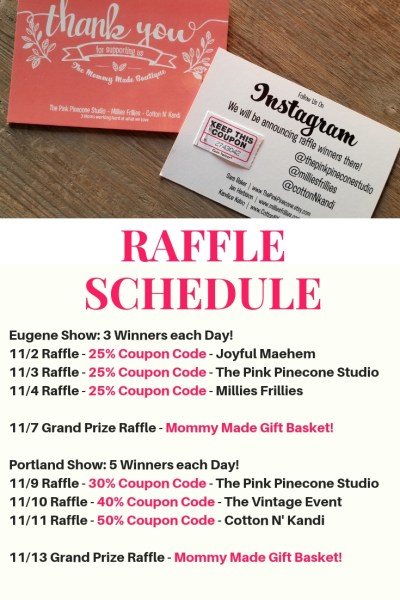 Mommy Made Boutique Raffle Schedule