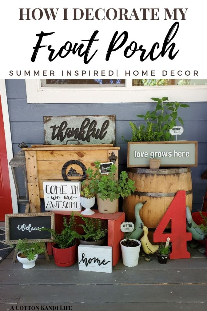 Modern meets Rustic Porch Decorating Ideas. Start an Herb Garden on your Porch for DIY Gardening and Decorating on a Budget. Reuse Garage Sale Furniture for basic structures and Statement Pieces. Porch Decorating Ideas. Rustic Porches. Summer Front Porch Ideas. Shade Loving Porch Plants. Front Porch Ferns.