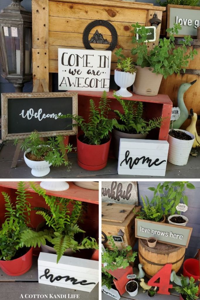 Front Porch Signs are a super fun way to make your Front Door Personal. You also get that Farmhouse Style feel while on a Budget for Year Round Interest. I find most of my Porch Signs from Hobby Lobby.