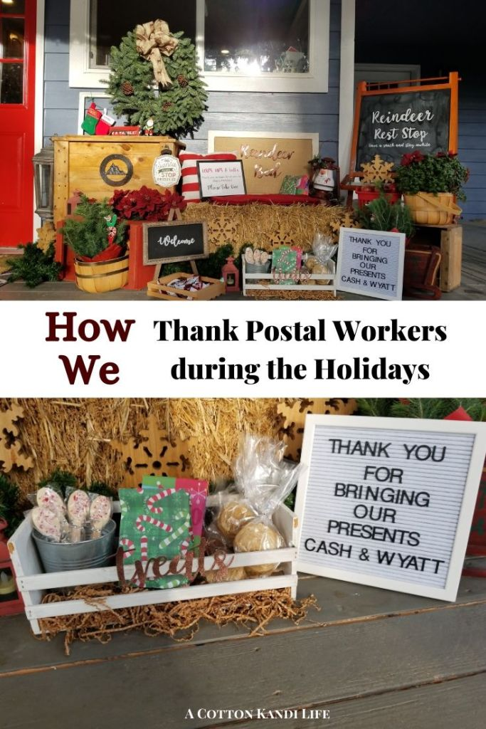 Postal Worker Thank You Basket Ideas . Our Postal Workers are working overtime this Holiday Season so we're giving out treats. Read up on how we're decorating our Porch for the Holidays with Postal Worker Thank You Basket Ideas.  . Thank You for Postal Workers. Postal Worker Thank You Ideas. Reindeer Rest Stop. Cute Porch Ideas. Holiday Porch Decorations