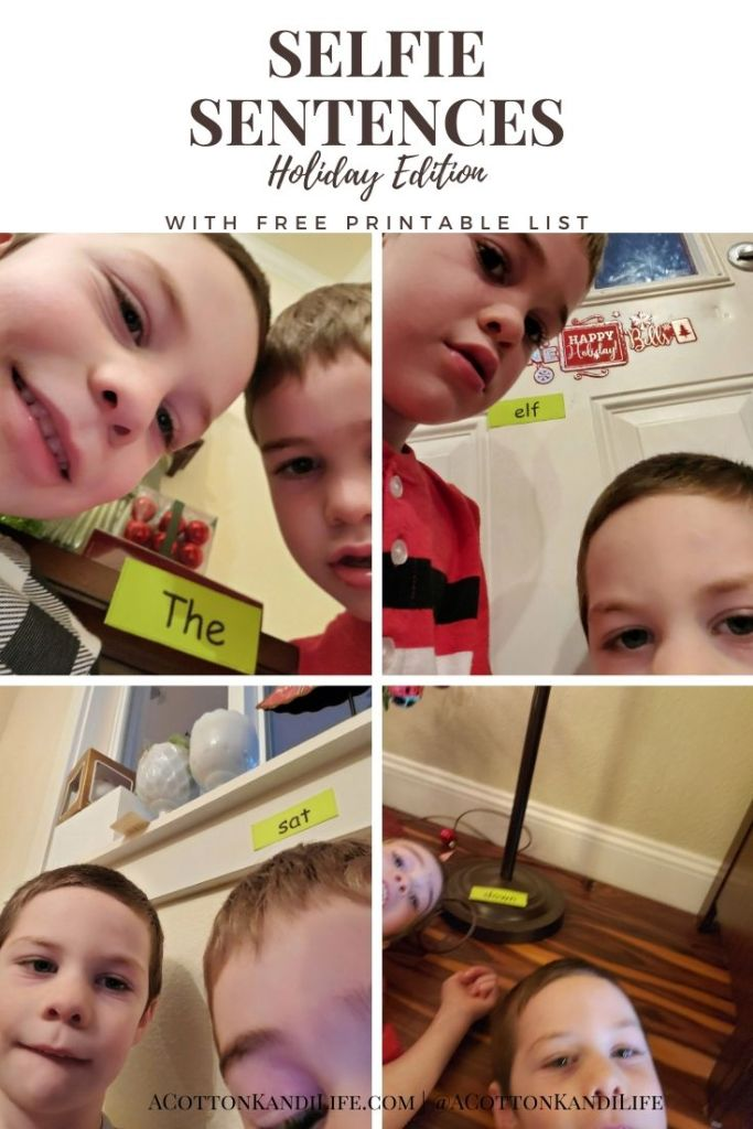 Selfie Sentences are sight words in the background of a selfie that you've taken in order to form a sentence. This is a game I play with the boys to keep them busy and *reading* in different ways.  . Fun Reading Games for the Holidays. Sight Word Games for Kindergarten. Holiday Activities for kids. Holiday Reading Ideas. How to Practice Sight Words. Lesson Plans on Sentence Structure.