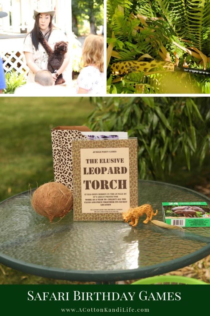 If you're looking for fun Safari Birthday Party Games that a group of kids can play this is it! The Elusive Leopard Torch Game is a Scavenger Hunt where you find puzzle pieces. After building the puzzle you reveal the secret message of who is protecting the torch you need to light the birthday cake candles! Team work and exercise.  * Safari Birthday Games. Jungle Party Games. VBS Group Activities. Group Scavenger Hunt Ideas. Kids Scavenger Hunt Games. Birthday Party Group Games.