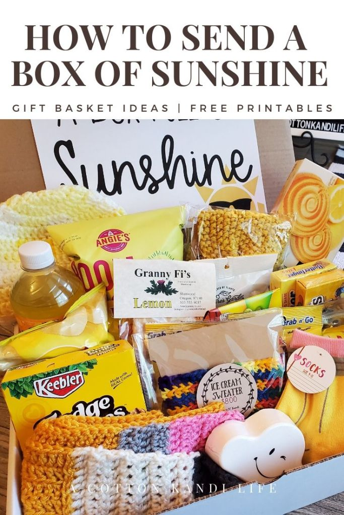 "Brighten someone's day by sending a Box of Sunshine! These bright yellow themed gift baskets or Birthday Boxes are the perfect way to say, ""I Miss You"" or ""I'm thinking of You"" when you're apart.  Send a Gift Box for Teacher Appreciation Gifts, College Student Care Packages, Get Well Soon Gift Ideas and more. Send them through the mail or drop them off on your loved one's doorstep."