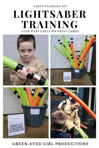 It's time to Blast Off with a 5th Birthday inspired by Star Wars! No Star Wars Birthday is complete without a Pool Noodle Lightsaber Fight against the Storm troopers. To start the Party Games we put our party guest Padawan's through Lightsaber Training. * Star Wars Party Games