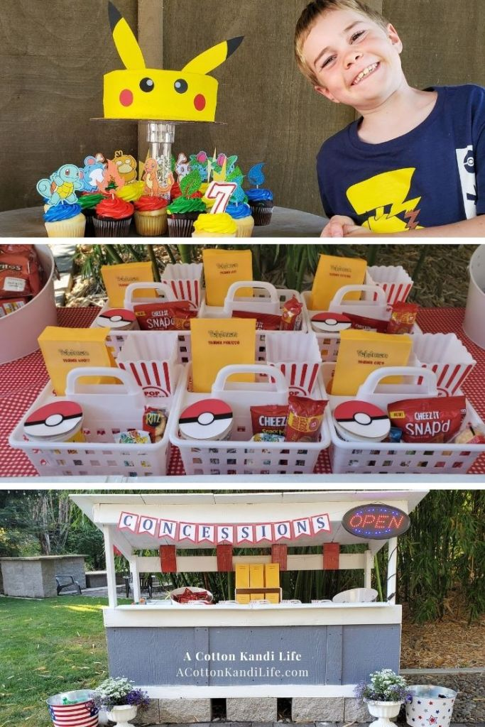 Cash's 7th Birthday Party was Pokemon Themed and oh, so cute! We did a movie night, complete with Outdoor Theatre and Concession Stand. Read all about our Pikachu Cake and more!  ***** Pokemon Party Theme Ideas