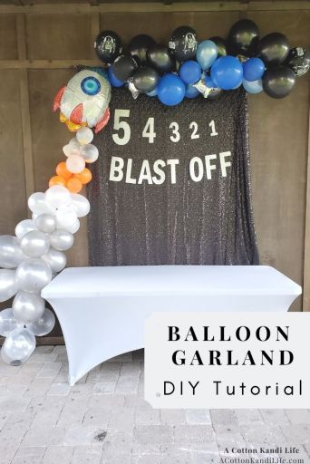 For Wyatt's 5th Birthday we threw him a Star Wars Party, complete with a Rocket Balloon Garland, blasting off into space with a 5-4-3-2-1 Countdown. Here is the DIY Tutorial for the Space Balloon Arch, Rocket Ship Balloon Garland How-to Guide How to Throw a Star Wars Party