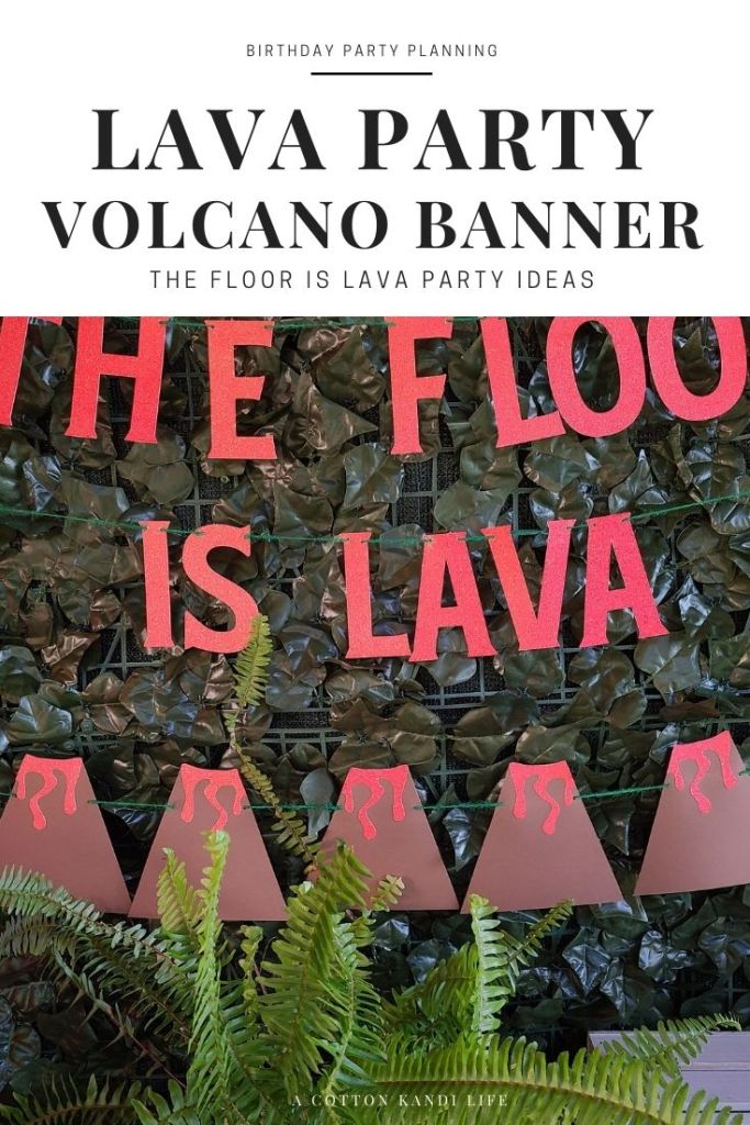 Decorate your Lava Party with a glitter Volcano Banner! They make the best tropical backdrops for your party.  * Luau Party Ideas, Video Game Food Tables, Level Up Party Decorations, Volcano Birthday Theme, Dinosaur Birthday Theme, Baby Shower