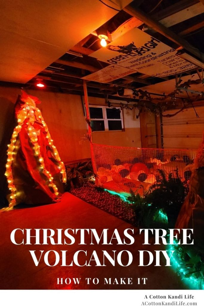 How to Build a, Giant Volcano for a Kids Birthday Party in your garage with your Christmas Tree, rope lights, Construction Paper and Spray Paint.  Tropical Birthday Party, Dinosaur Party, Hero Training, Pokémon Training Theme, Birthday Game Ideas