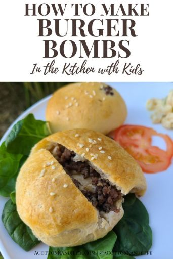 How to make Burger Bombs- Stuffed Cheeseburgers, with Kids. Kids can cook too with these easy, simple, 3 ingredient recipes. Cash and I were very impressed by how these turned out for Kids in the Kitchen.  * Heavy Appetizers, Summer Cooking, Light Dinners, Grands Biscuits, 15-Minute Dinners.