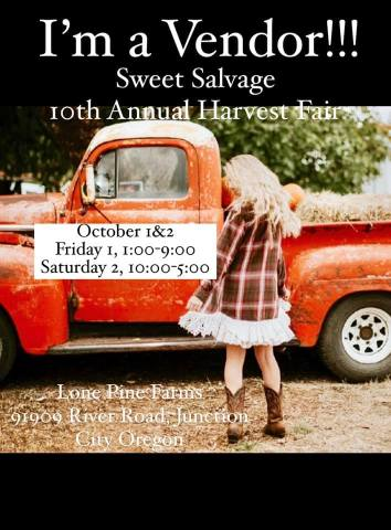 I'm a VENDOR at this year's Harvest Fair with Sweet Salvage!  . I'll be there Oct 1st-2nd with my besties from #themommymadeboutique. We're doing a DOUBLE booth this year!   Location: Lone Pine Farms Friday October 1, 4:00-9:00 ($8.00)Saturday October 2, 10:00-5:00 ($5.00)Kids 12 under FREE . For all the details on vendors and food trucks follow @Sweetsalvagedesigns . Event: https://www.facebook.com/events/1692965100893455  #goodnews #vendorshows  #plaidaddict #craftshows #oregoncrafters  #fallcolors #fallleaves #falltrends  #fallstyle #autumncolors #fallhats #autumnfashion #liketkit #autumnstyle #autumndays #realoutfitgram #boutiqueshopping #autumnweather #instaautumn #sweaterweather #boutiquefashion #autumnsky #autumntime #autumncolours #instafall #falltime #sweaterbranded #fallbabyshower #babygifts #shopsmall