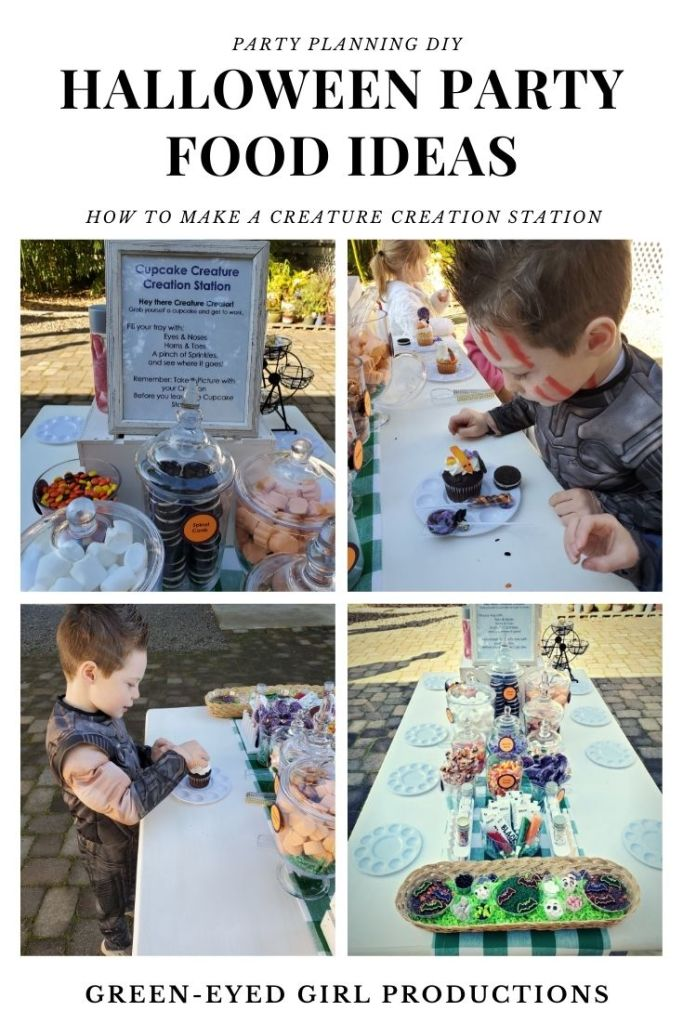 How to make a DIY Cupcake Decorating Table for Halloween: Host a Creature Creation Station for all your Mad Scientists. Let them decorate cupcakes with eyeballs and pretzel toenails for a Fun Party Theme!  **** Cute Halloween Party Games for Kids. Party Food Ideas, Themed Food, Cupcake Decorating Party, Creature Cupcakes. Games that are not scary or creepy.
