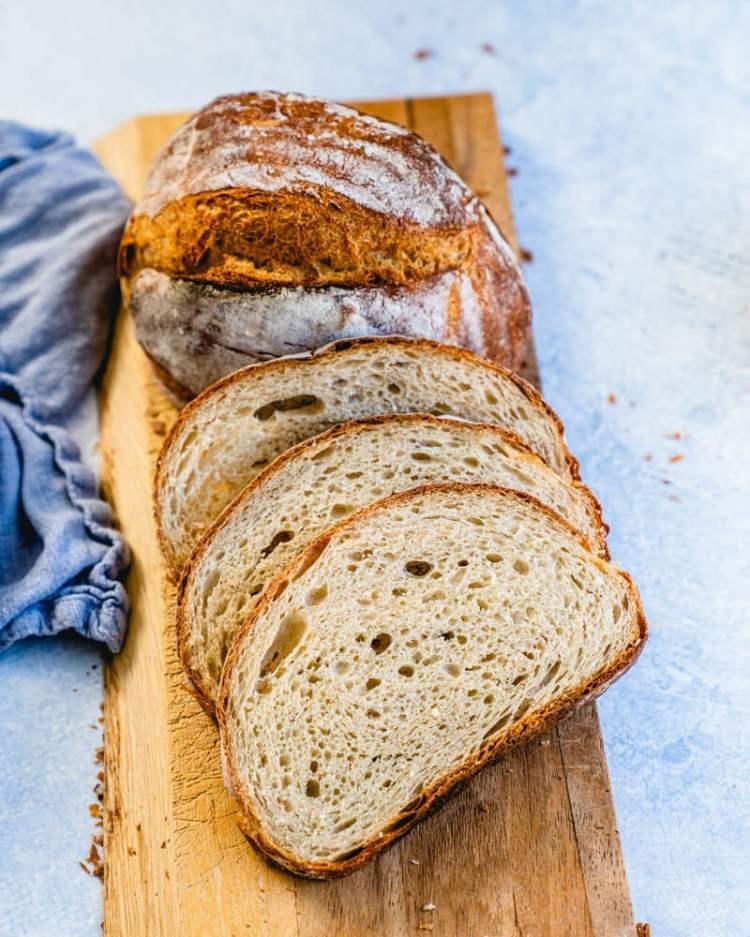 Artisan bread recipe sliced