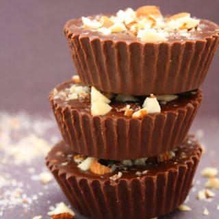 Fudge de Chocolate com Amêndoas (Paleo, Vegano, Sem glúten, Sem Lactose)