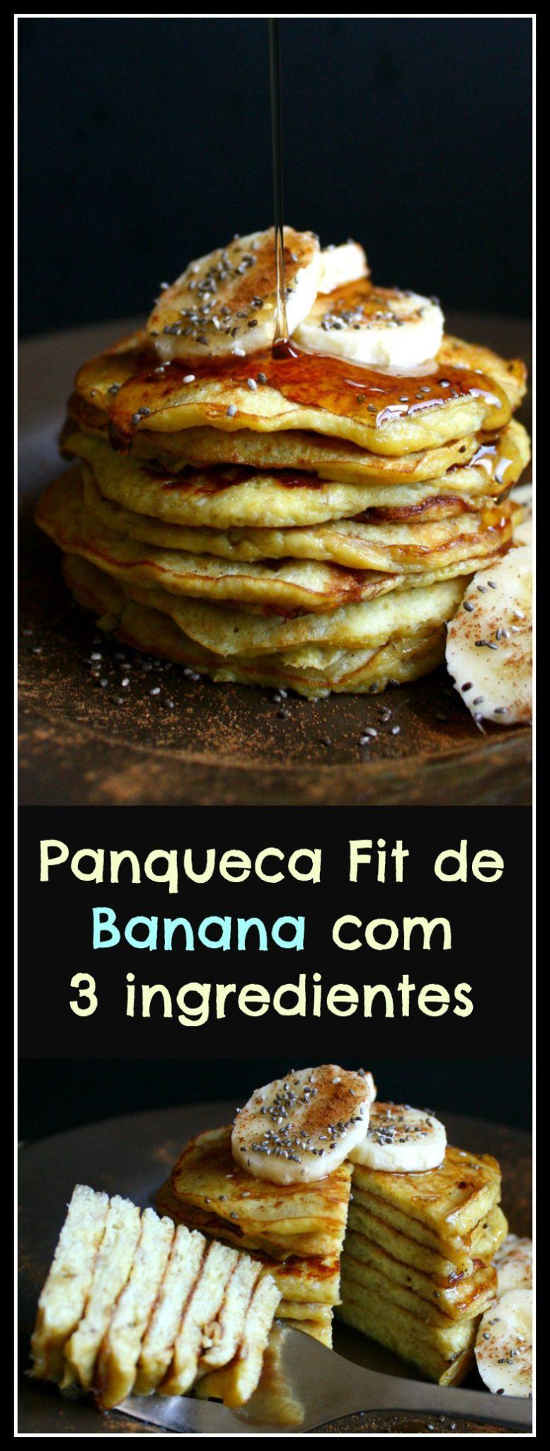 Panqueca de banana fit. (Sem lactose, Sem açúcar refinado, Sem farinha e Sem glúten).
