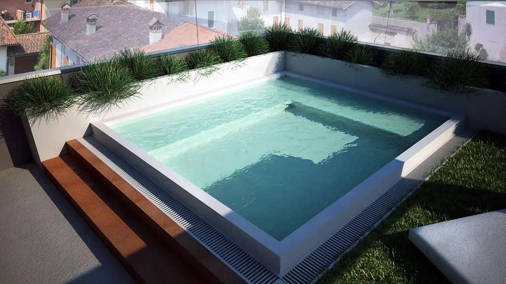 Piscina a sfioro su terrazzo progettazione e realizzazione  Acqua Tecnica