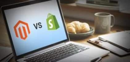 Image of Laptop with Magento VS Shopify and logos