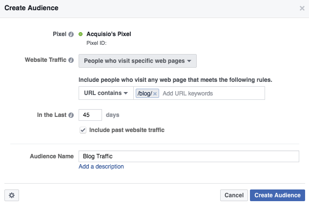Facebook retargeting specific web page