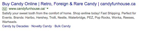 candy fun house ad screenshot