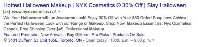 nyx cosmetics ad screenshot
