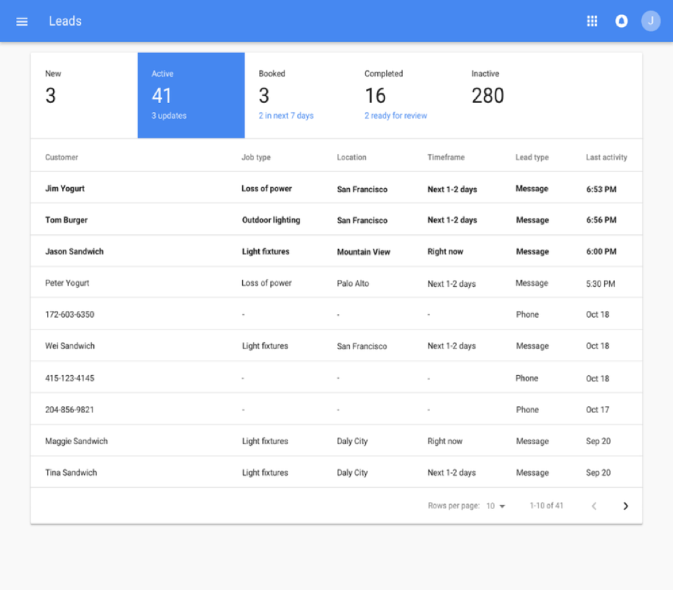 Google LSA sign up process screenshot