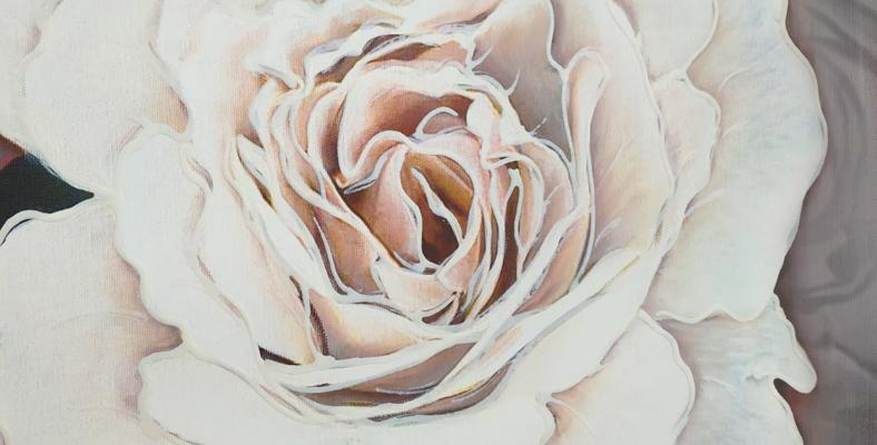 quadro con fiori rosa rose gigante su tela montmartre con lavorazione materica