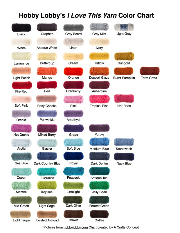 Hobby lobbys i love this yarn color chart a crafty concept