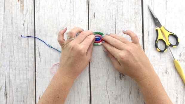 Step 12 for crochet rainbow earrings