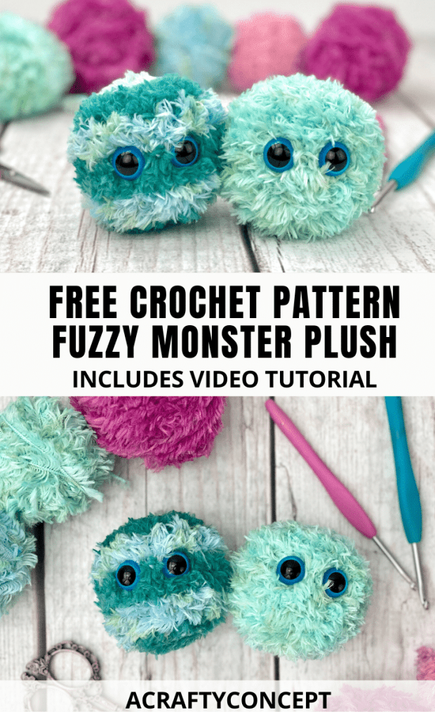 Can you believe this is crochet?! Learn how to crochet your own fuzzy monster toy with this free crochet pattern and full video tutorial.